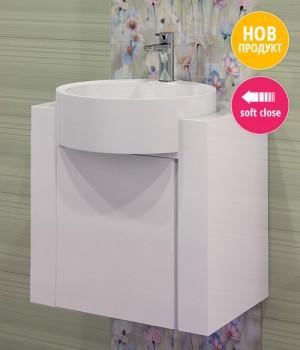 Комплект мебел за баня от PVC със стилен дизайн. - Мебели за баня обзавеждане за бани от PVC , шкафчета, огледала, полици